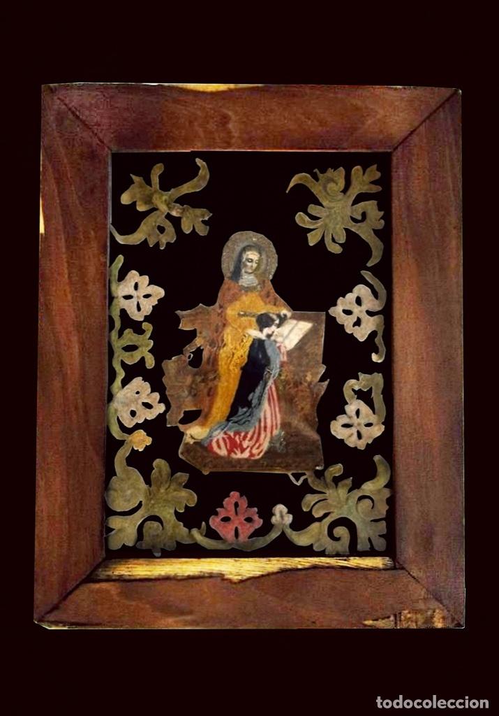 ANTIGUA SANTA ANA BORDADA Y PEGADA EN CRISTAL, RECUPERADA. (Arte - Arte Religioso - Pintura Religiosa - Otros)