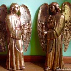 Arte: ANTIGUA PAREJA DE ANGELES EN TALLA MADERA , PARA LLEVAR VELAS , 71 CM ALTO . Lote 147769570