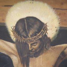 Arte: CUADRO ANTIGUO DE LA CRUCIFIXIÓN DE JESUCRISTO UTILIZANDO LA TÉCNICA DE LA ACUARELA. Lote 147771181
