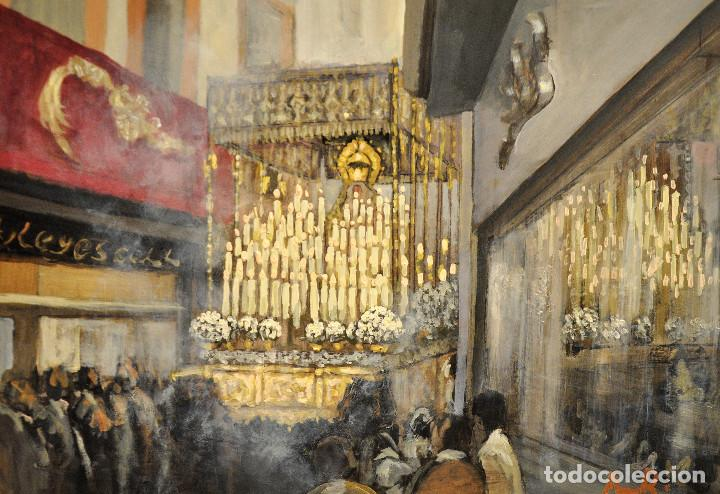 PINTURA AL OLEO SEMANA SANTA SEVILLA (Art - Religious Art - Religious Painting - Oil)
