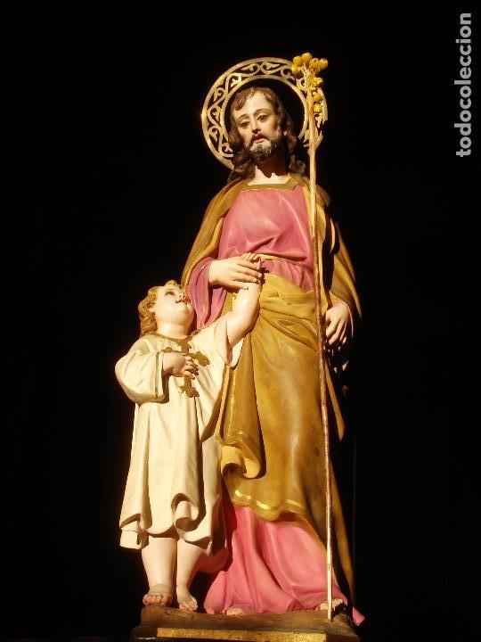 Arte: EL ARTE CRISTIANO ANTIGUO SAN JOSÉ CON NIÑO PASTA DE MADERA - Foto 14 - 147815526