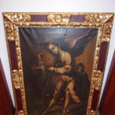 Arte: GRAN ÓLEO RELIGIOSO CON IMPRESIONANTE MARCO DEL SIGLO XVII. Lote 147831678