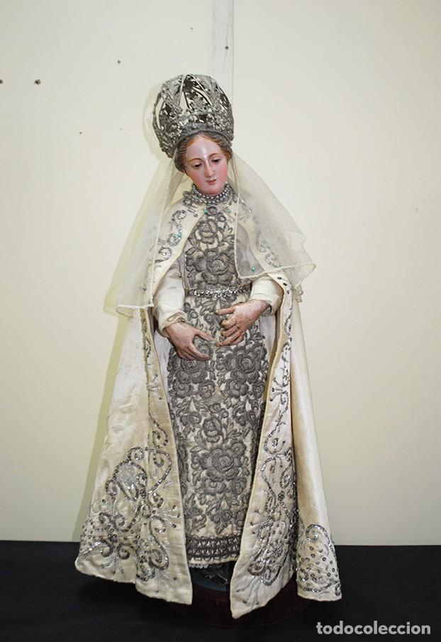 ANTIGUA VIRGEN DE MADERA TALLADA - VIRGEN CAP I POTA (Arte - Arte Religioso - Escultura)