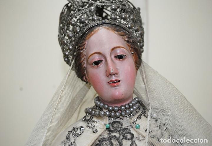 Arte: ANTIGUA VIRGEN DE MADERA TALLADA - VIRGEN CAP I POTA - Foto 3 - 147888166