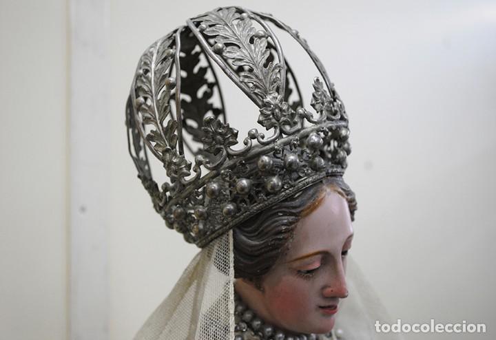 Arte: ANTIGUA VIRGEN DE MADERA TALLADA - VIRGEN CAP I POTA - Foto 4 - 147888166