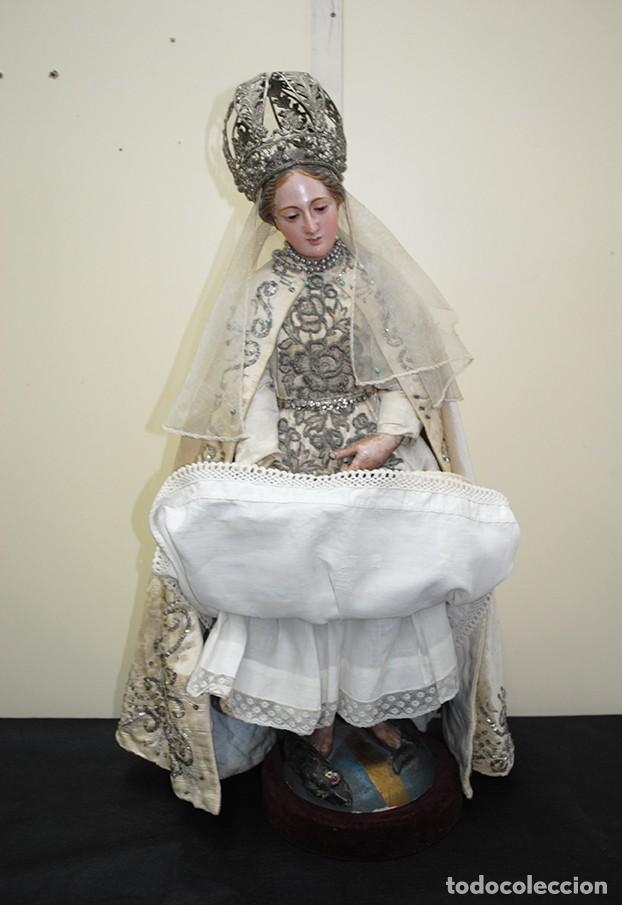 Arte: ANTIGUA VIRGEN DE MADERA TALLADA - VIRGEN CAP I POTA - Foto 11 - 147888166