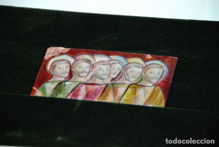 Arte: BONITO ESMALTE SOBRE COBRE - GRUPO DE APÓSTOLES - SOPORTE EN MADERA Y TERCIOPELO - - Foto 2 - 147894422