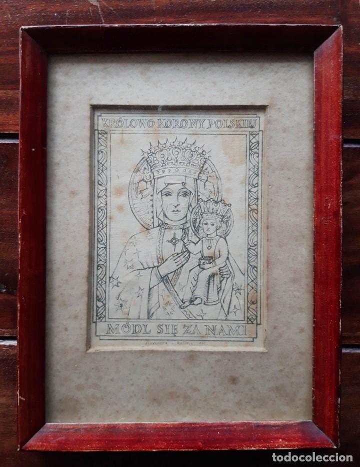 REINA DE LA CORONA POLACA, ALEXANDER L. RUSSELL, 1942 , TAMAÑO DEL MARCO 22 X 16 CM (Arte - Arte Religioso - Grabados)