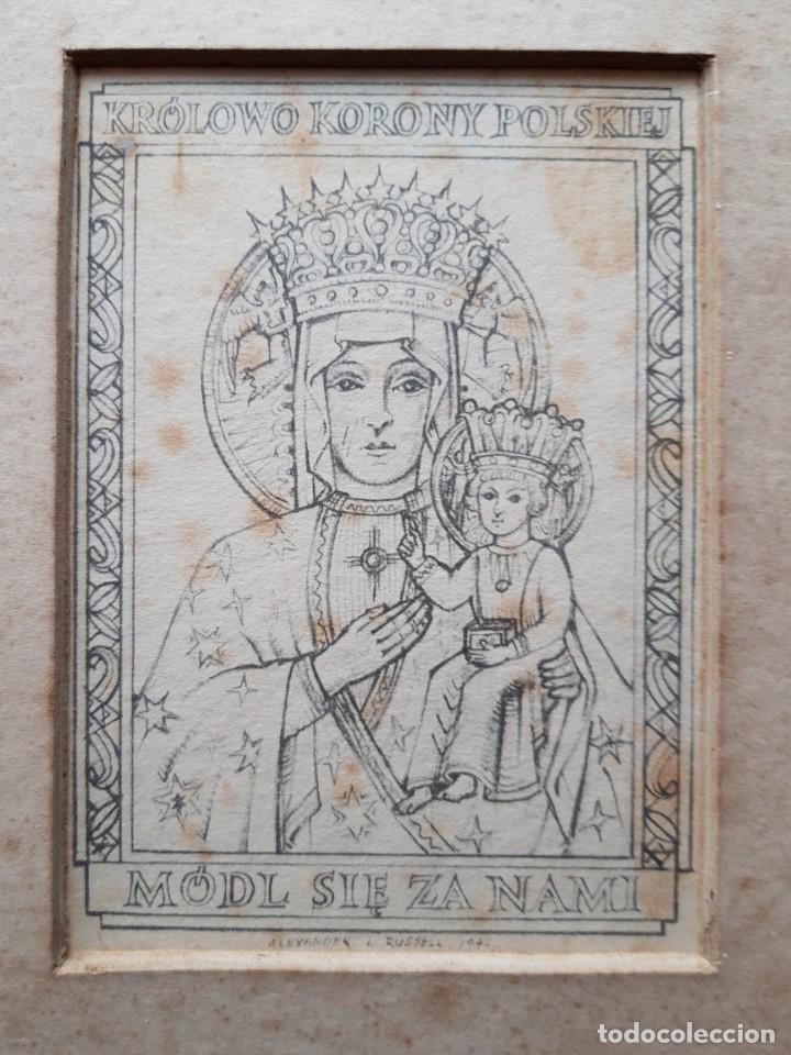 Arte: Reina de la Corona Polaca, Alexander L. Russell, 1942 , Tamaño del marco 22 x 16 cm - Foto 2 - 147894762