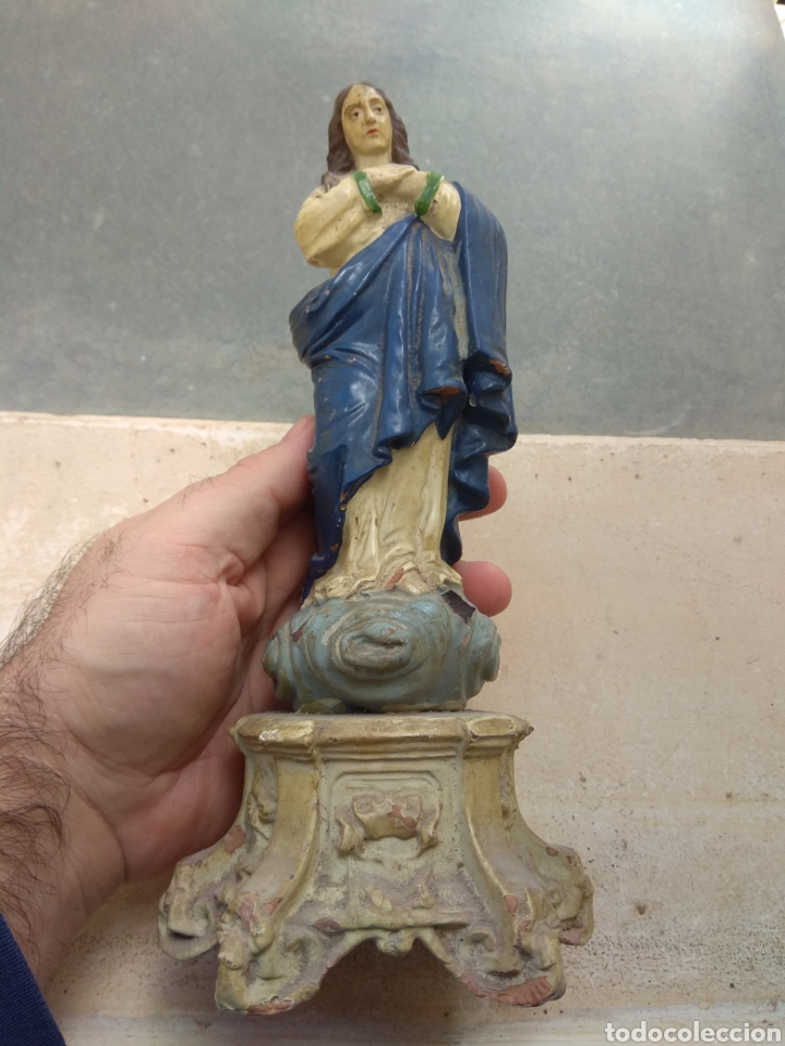 ANTIGUA ESCULTURA VIRGEN INMACULADA CONCEPCIÓN EN TERRACOTA XIX (Arte - Arte Religioso - Escultura)