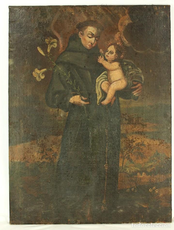 OLEO SOBRE TELA ESCUELA ESPAÑOLA - SAN ANTONIO DE PADUA Y NIÑO JESÚS - SXVII (Arte - Arte Religioso - Pintura Religiosa - Oleo)