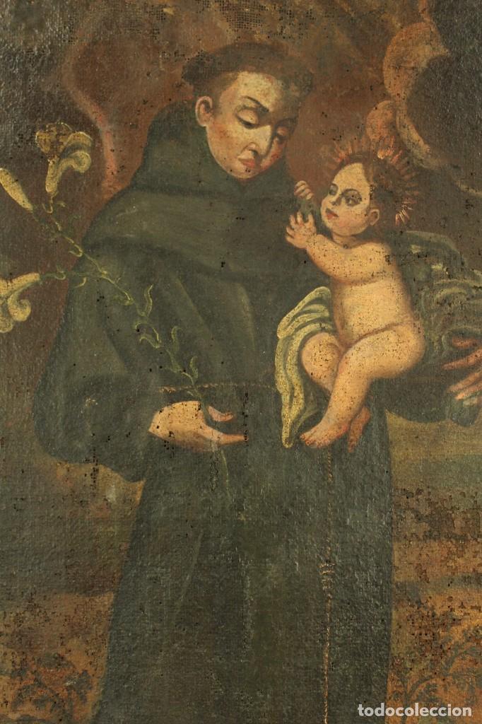 Arte: Oleo sobre tela Escuela española - San Antonio de Padua y Niño Jesús - SXVII - Foto 4 - 147354354