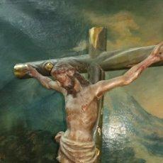 Arte: CRISTO CRUCIFICADO TALLA EN MADERA SIGLO XVIII. Lote 145847490