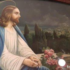 Arte: ANTIGUO CUADRO OVALADO MADERA ESTUCADO CON LAMINA RELIGIOSA. Lote 147934206