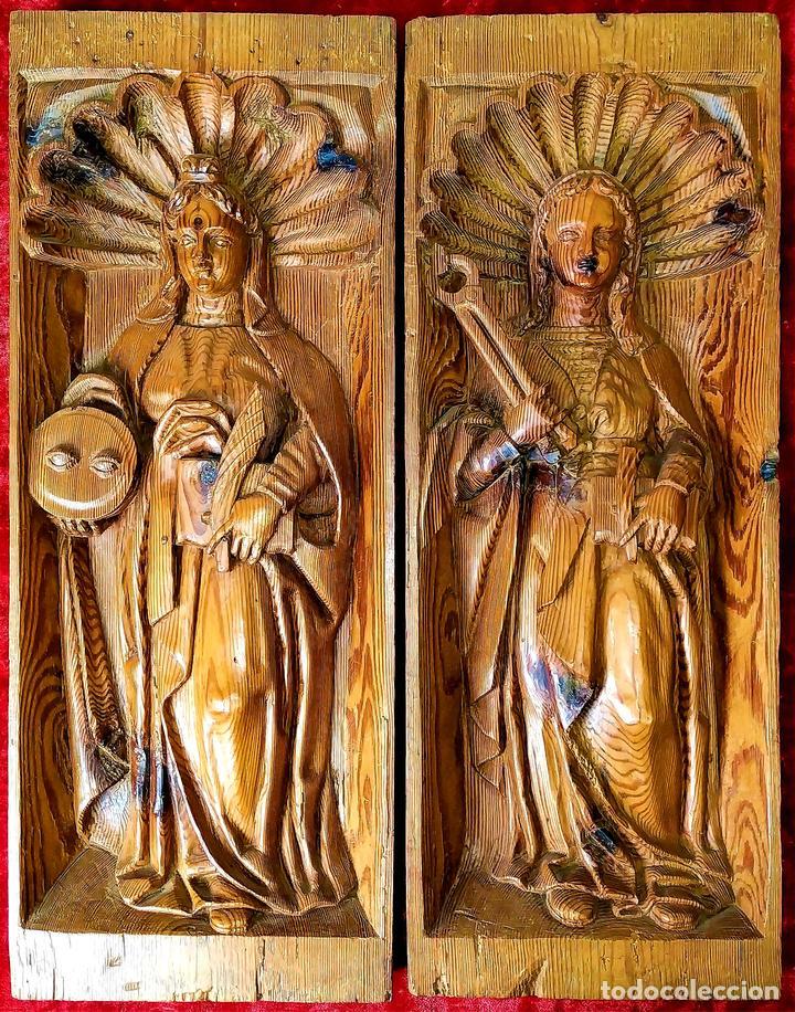 SANTA LUCIA Y SANTA APOLONIA. FRAGMENTOS RETABLO. MADERA TALLADA. ESPAÑA. XVIII (Arte - Arte Religioso - Escultura)