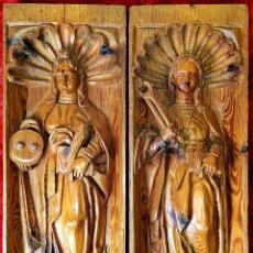 Arte: SANTA LUCIA Y SANTA APOLONIA. FRAGMENTOS RETABLO. MADERA TALLADA. ESPAÑA. XVIII. Lote 147998698