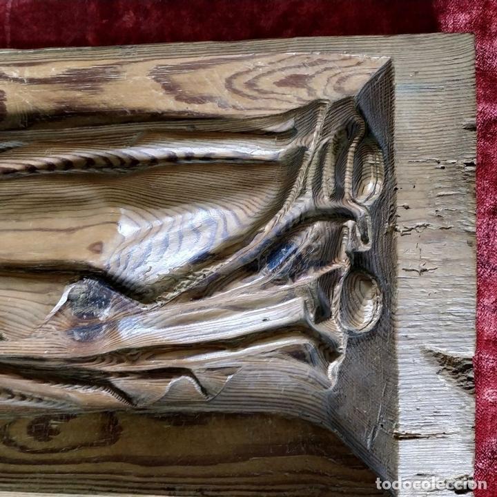 Arte: SANTA LUCIA Y SANTA APOLONIA. FRAGMENTOS RETABLO. MADERA TALLADA. ESPAÑA. XVIII - Foto 10 - 147998698