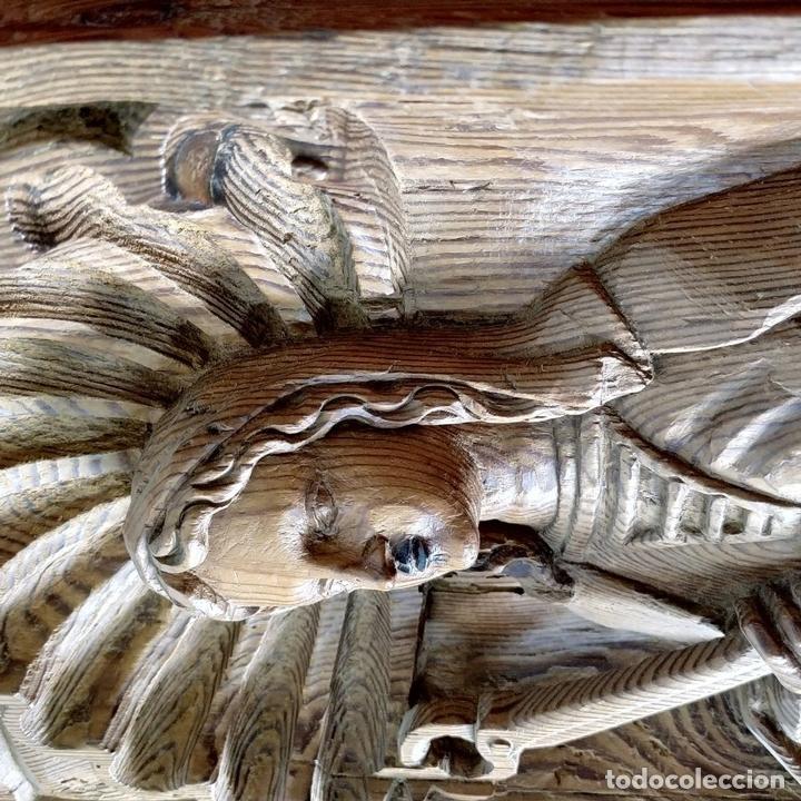 Arte: SANTA LUCIA Y SANTA APOLONIA. FRAGMENTOS RETABLO. MADERA TALLADA. ESPAÑA. XVIII - Foto 14 - 147998698