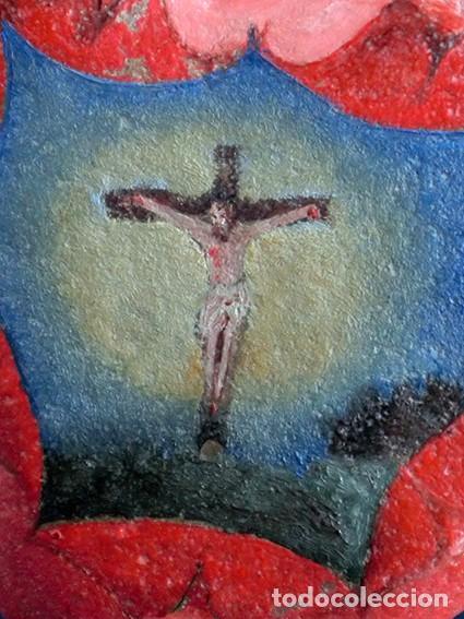 Arte: ANTIGUA Y MUY ORIGINAL PINTURA RELIGIOSA - CRISTO CRUCIFICADO - ÓLEO SOBRE PIEDRA - FORMA DE CORAZÓN - Foto 8 - 148004850