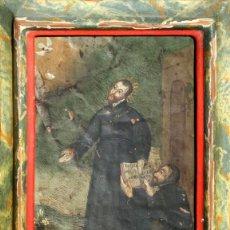 Arte: ANTIGUA PINTURA RELIGIOSA - ÓLEO SOBRE COBRE - MARCO DE ÉPOCA - SANTOS - LIBRO - ESPÍRITU SATO. Lote 148011794