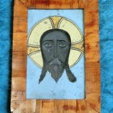 Arte: ANTIGUA PINTURA SOBRE CRISTAL - SANTA FAZ - MARCO RAÍZ - ROSTRO JESUCRISTO - TEMÁTICA RELIGIOSA. Lote 148019126