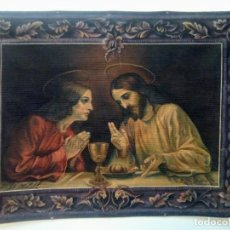 Arte: ANTIGUO TAPIZ RELIGIOSO PINTADO.FIRMADO Y FECHADO EN 1926.. Lote 148019318