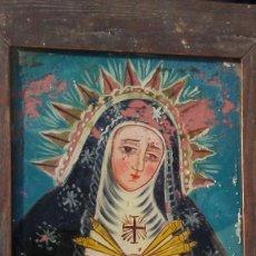 Arte: ANTIGUA VIRGEN DOLOROSA PINTADA EN CRISTAL.. Lote 148036878