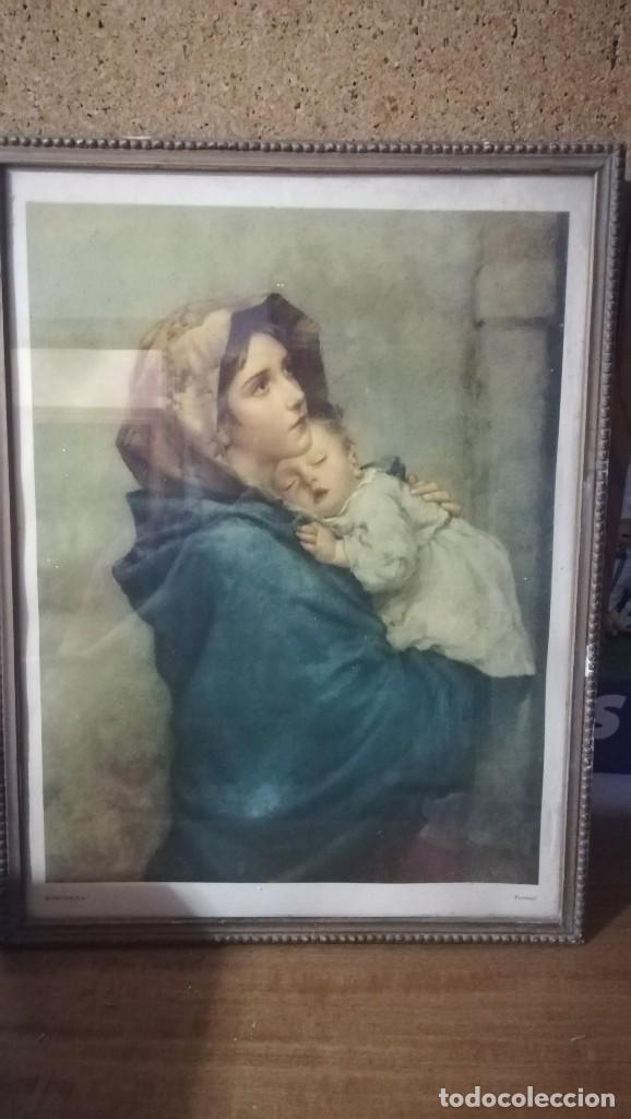Arte: ANTIGUA LAMINA RELIGIOSA ENMARCADA EN CRISTAL CON MARCO DORADO , MADONNINA - Foto 2 - 148039614