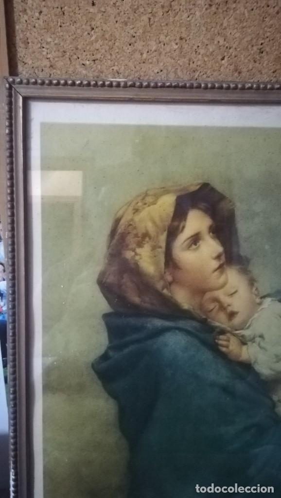 Arte: ANTIGUA LAMINA RELIGIOSA ENMARCADA EN CRISTAL CON MARCO DORADO , MADONNINA - Foto 3 - 148039614