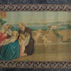 Arte: CROMOLITOGRAFÍA RELIGIOSA ANTIGUA SOBRE LIENZO SAGRADA FAMILIA PRINCIPIOS SIGLO XX. Lote 148056258