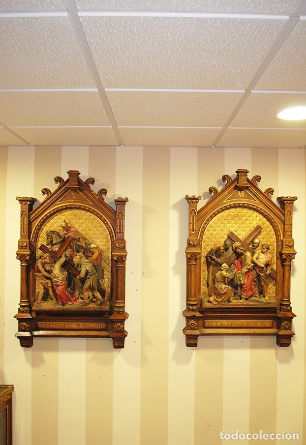 PAREJA DE RETABLOS ANTIGUOS ESTACIONES VÍA CRUCIS (Arte - Arte Religioso - Retablos)