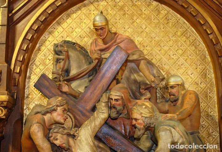 Arte: PAREJA DE RETABLOS ANTIGUOS ESTACIONES VÍA CRUCIS - Foto 7 - 148144474