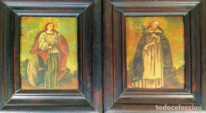 SANTA CATALINA DE ALEJANDRÍA Y SANTO DOMINGO. CUZQUEÑAS. ÓLEO. SUDAMÉRICA. XVIII (Arte - Arte Religioso - Pintura Religiosa - Oleo)