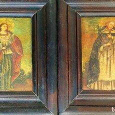 Arte: SANTA CATALINA DE ALEJANDRÍA Y SANTO DOMINGO. CUZQUEÑAS. ÓLEO. SUDAMÉRICA. XVIII. Lote 148165462