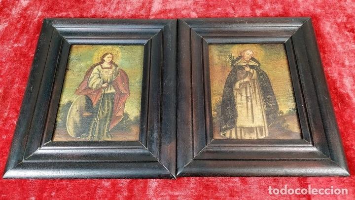 Arte: SANTA CATALINA DE ALEJANDRÍA Y SANTO DOMINGO. CUZQUEÑAS. ÓLEO. SUDAMÉRICA. XVIII - Foto 2 - 148165462