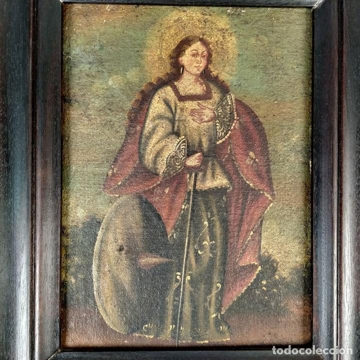 Arte: SANTA CATALINA DE ALEJANDRÍA Y SANTO DOMINGO. CUZQUEÑAS. ÓLEO. SUDAMÉRICA. XVIII - Foto 3 - 148165462
