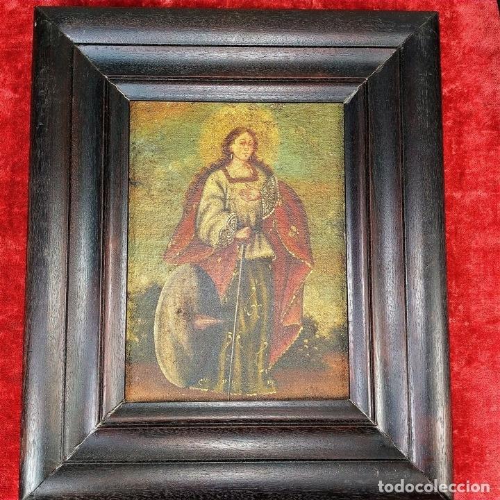 Arte: SANTA CATALINA DE ALEJANDRÍA Y SANTO DOMINGO. CUZQUEÑAS. ÓLEO. SUDAMÉRICA. XVIII - Foto 4 - 148165462
