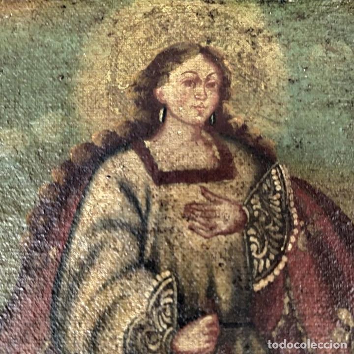 Arte: SANTA CATALINA DE ALEJANDRÍA Y SANTO DOMINGO. CUZQUEÑAS. ÓLEO. SUDAMÉRICA. XVIII - Foto 8 - 148165462