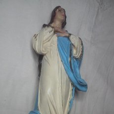 Arte: ANTIGUA INMACULADA. POLICROMADO. OJO DE CRISTAL. MARCA INCISA ' LAS ARTES RELIGIOSAS DE OLOT '. Lote 148212586