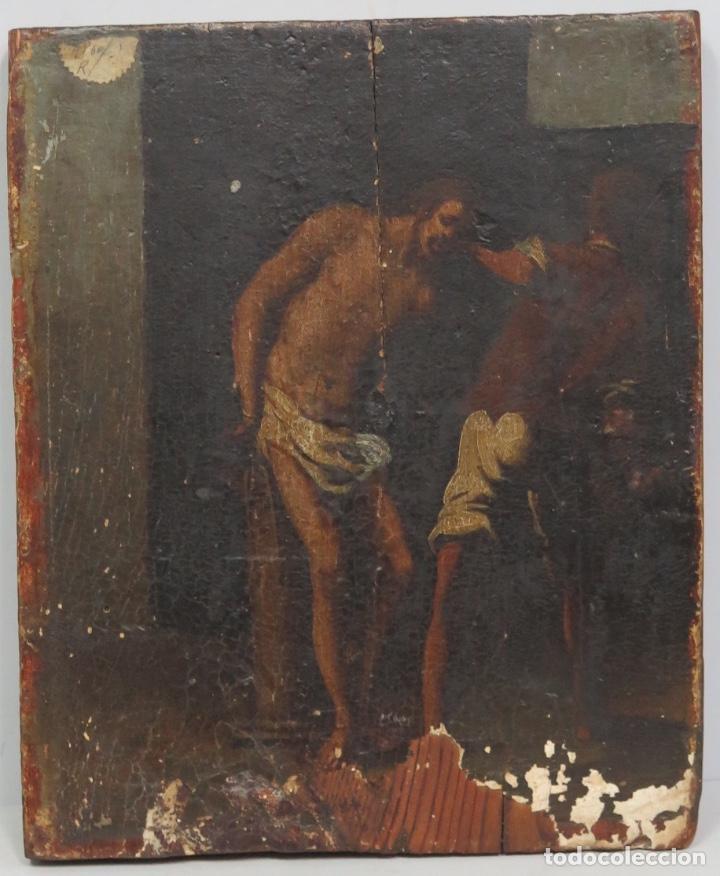 FLAGELACION DE CRISTO. OLEO SOBRE TABLA SIGLO XVII (Arte - Arte Religioso - Pintura Religiosa - Oleo)