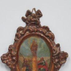 Arte: INTERESANTE PANOPLIA DE PAPIER MACHE. OLEO VIRGEN PILAR. SIGLO XVIII. Lote 148294930
