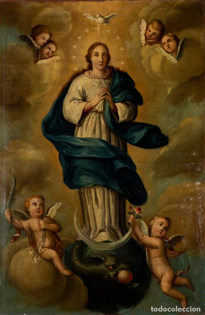 INMACULADA. SIGLO XVIII. ESCUELA ESPAÑOLA. ÓLEO SOBRE LIENZO. 85X56,5. MARCO DE ÉPOCA. (Arte - Arte Religioso - Pintura Religiosa - Oleo)