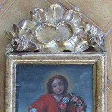 Arte: EL NIÑO JESUS CON UNA CORONA DE FLORES SIGLO XVIII MARCO DE EPOCA. Lote 148317046