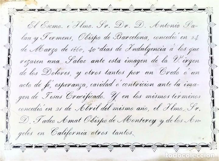 INDULGENCIAS DE LOS OBISPOS DE BARCELONA Y MONTERREY. GRABADO. ESPAÑA. 1860 (Arte - Arte Religioso - Grabados)