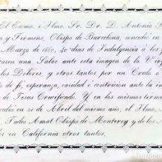 Arte: INDULGENCIAS DE LOS OBISPOS DE BARCELONA Y MONTERREY. GRABADO. ESPAÑA. 1860. Lote 171330387