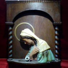 Arte: RETABLO ALTAR DE MADERA CON LUZ - VIRGEN ESCAYOLA. Lote 148396650