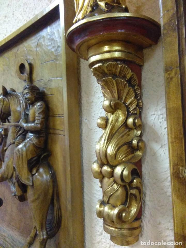 Arte: virgen del pilar de madera de nogal con repisa dorada - Foto 4 - 148456506