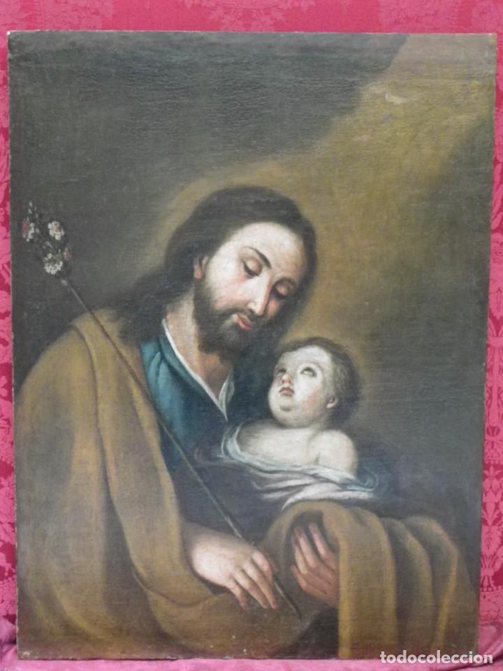 SAN JOSÉ CON EL NIÑO, O/L SIGLO XVII-XVIII (Arte - Arte Religioso - Pintura Religiosa - Oleo)