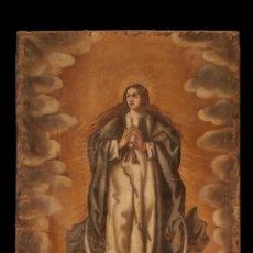 Arte: ANÓNIMO DEL SIGLO XVIII, VIRGEN OLÉO SOBRE LIENZO ,DE AUTOR DESCONOCIDO INMACULADA,. Lote 148512978