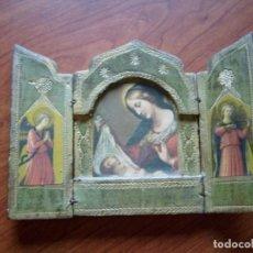 Arte: TRÍPTICO RELIGIOSO MADERA VIRGEN CON NIÑO (ABIERTO 15X11 CMS.). Lote 148562990